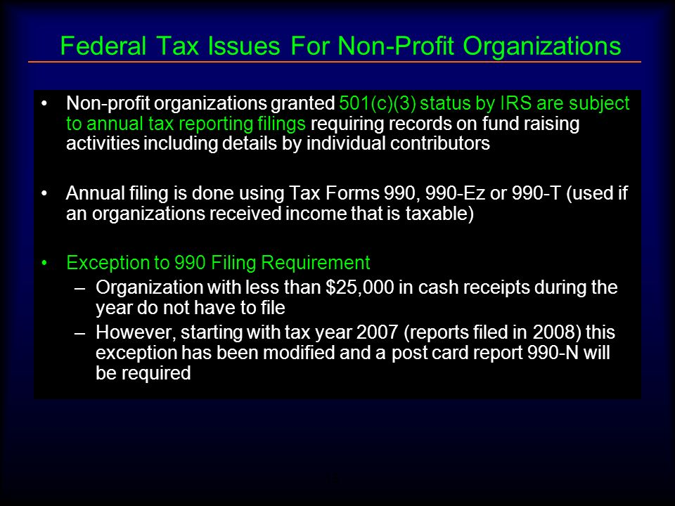 Federal Tax Issues For Non-Profit Organizations