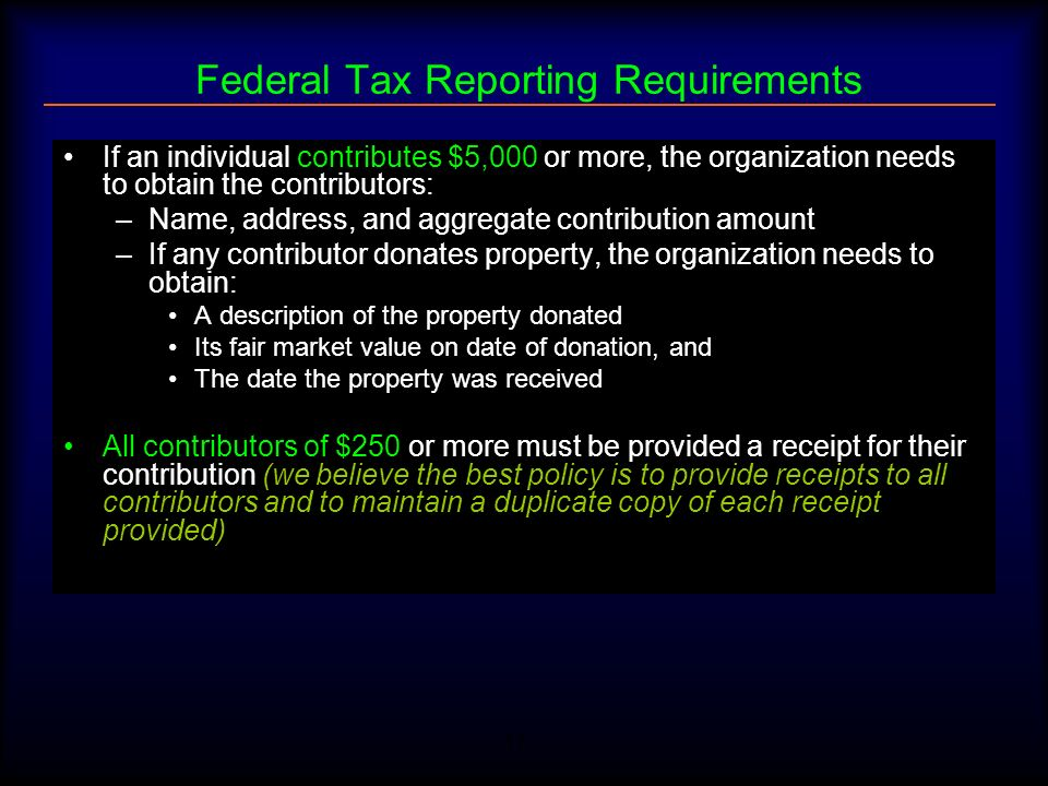 Federal Tax Reporting Requirements