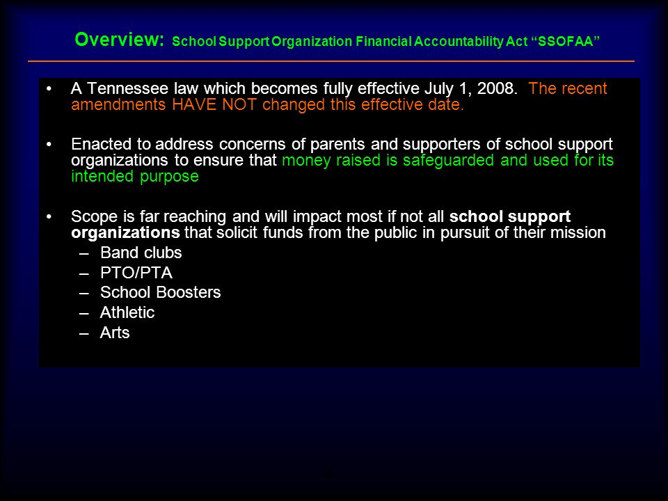 Overview: School Support Organization Financial Accountability Act SSOFAA