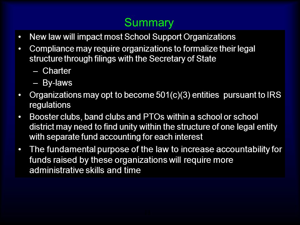 Summary New law will impact most School Support Organizations.