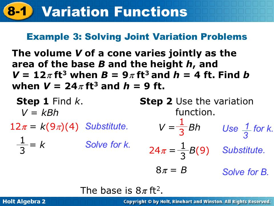Variation Functions 8-1 Warm Up Lesson Presentation Lesson ...