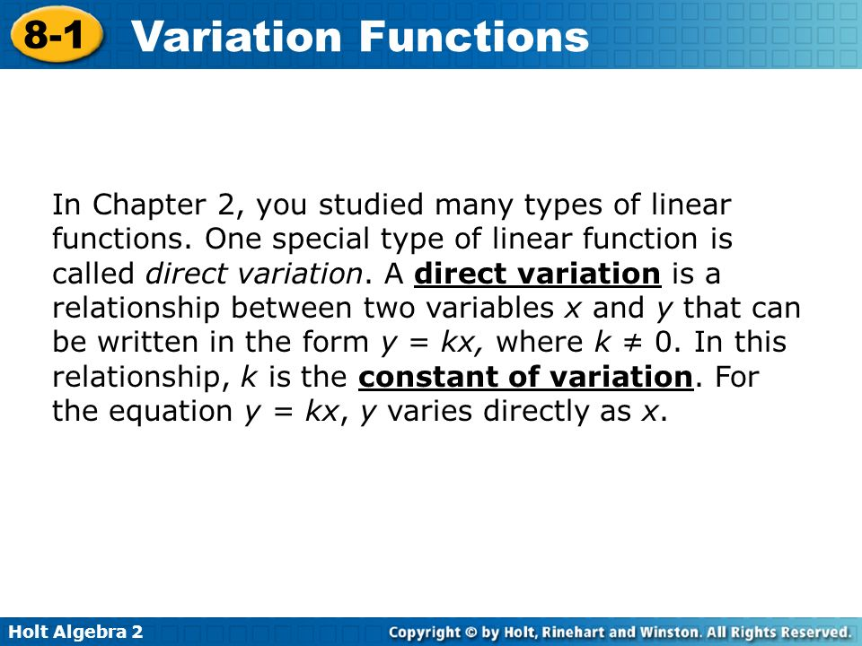 In Chapter 2, you studied many types of linear functions
