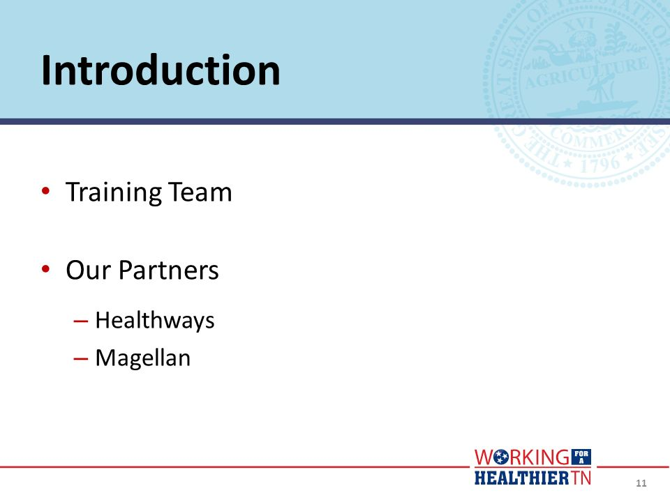 Introduction Training Team Our Partners Healthways Magellan