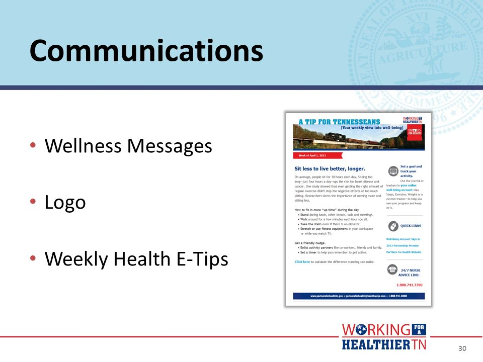 Communications Wellness Messages Logo Weekly Health E-Tips Weekly