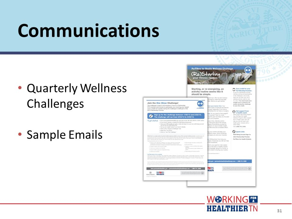 Communications Quarterly Wellness Challenges Sample Emails