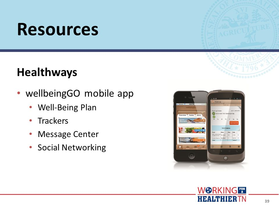 Resources Healthways wellbeingGO mobile app Well-Being Plan Trackers