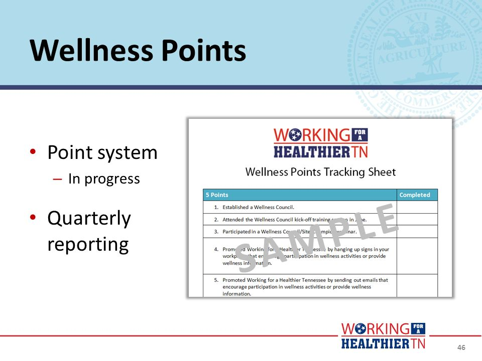 SAMPLE Wellness Points Point system Quarterly reporting In progress