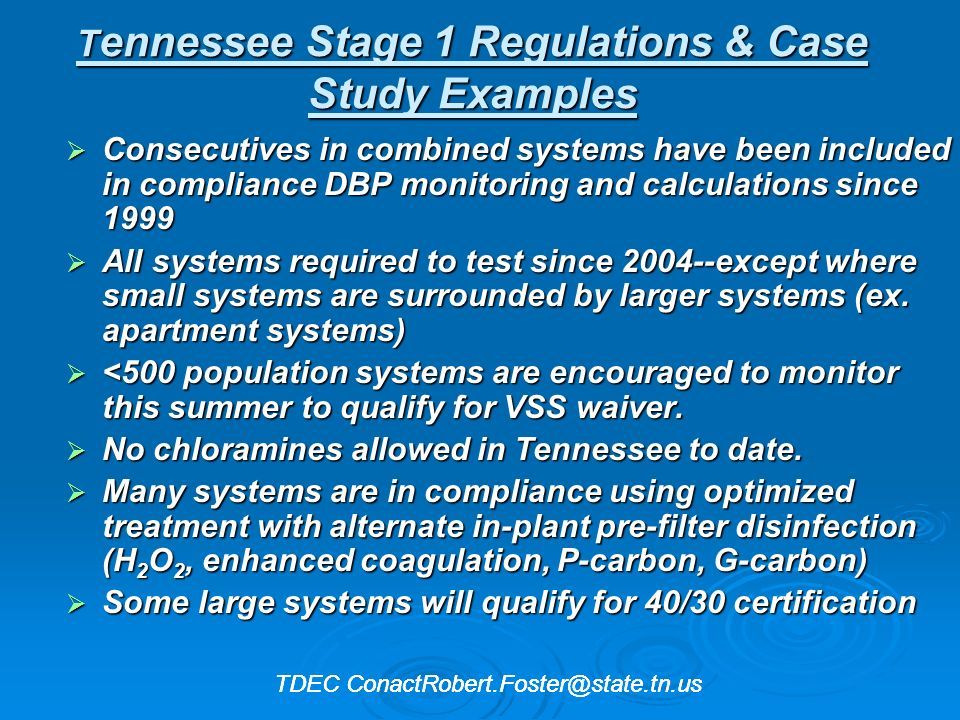 Tennessee Stage 1 Regulations & Case Study Examples
