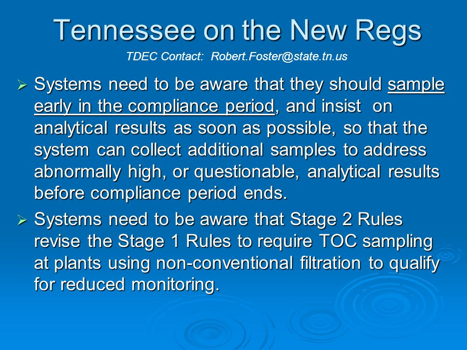 Tennessee on the New Regs