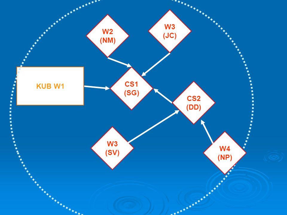 W3 (JC) W2 (NM) KUB W1 CS1 (SG) CS2 (DD) W3 (SV) W4 (NP)