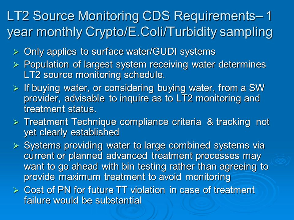 LT2 Source Monitoring CDS Requirements– 1 year monthly Crypto/E