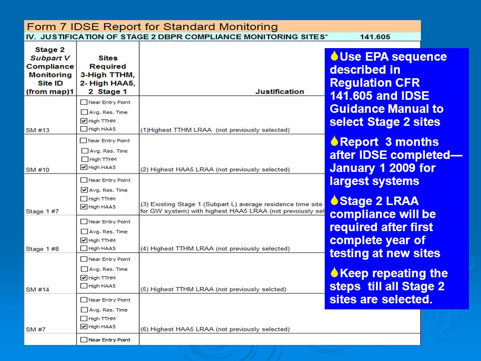 Use EPA sequence described in Regulation CFR 141