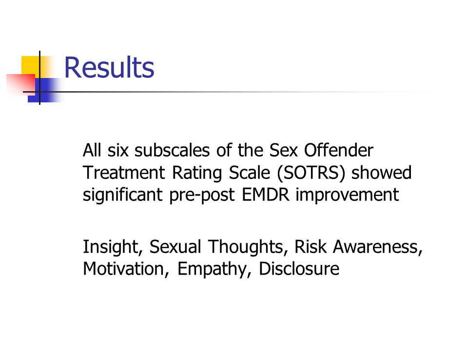 Results All six subscales of the Sex Offender Treatment Rating Scale (SOTRS) showed significant pre-post EMDR improvement.