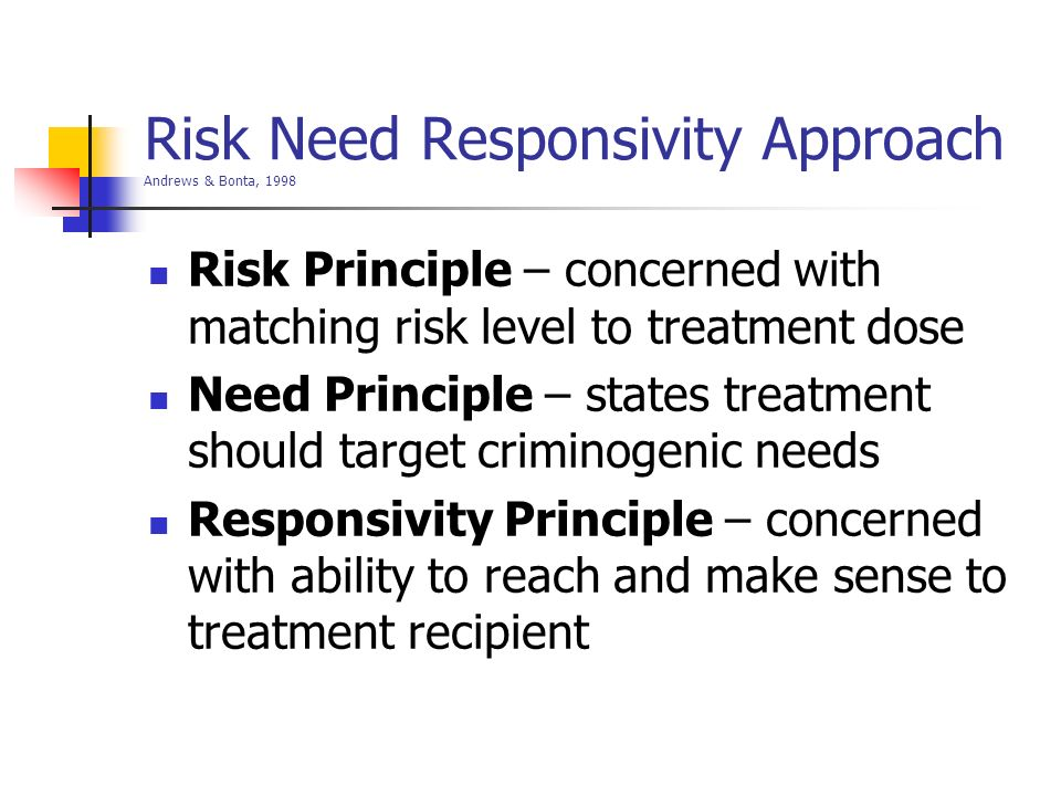Risk Need Responsivity Approach Andrews & Bonta, 1998