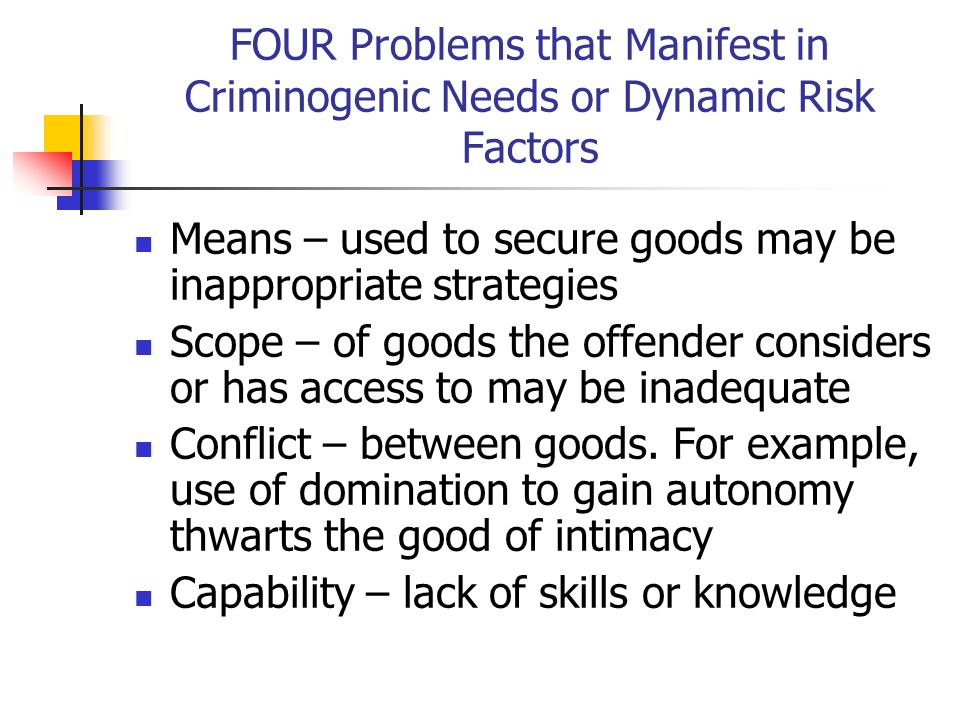 FOUR Problems that Manifest in Criminogenic Needs or Dynamic Risk Factors
