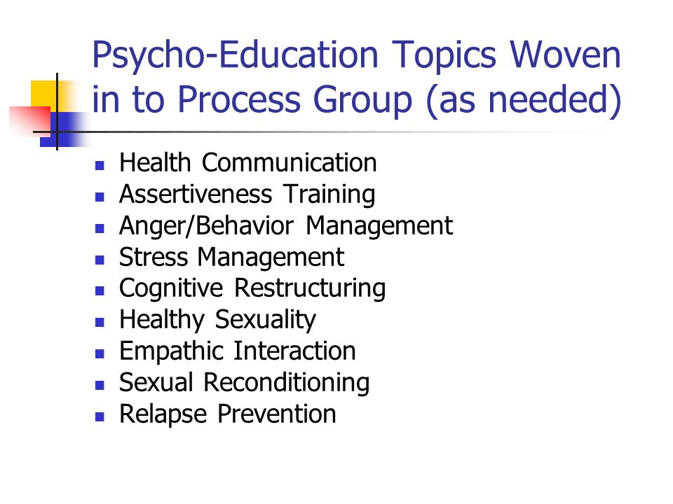 Psycho-Education Topics Woven in to Process Group (as needed)