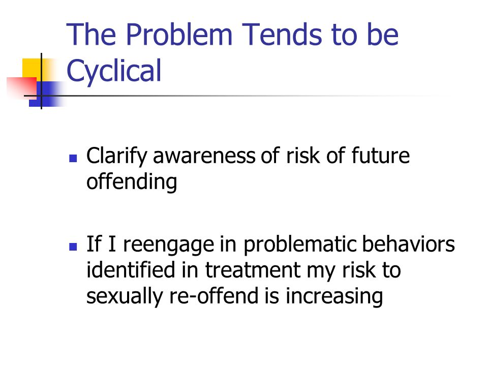 The Problem Tends to be Cyclical