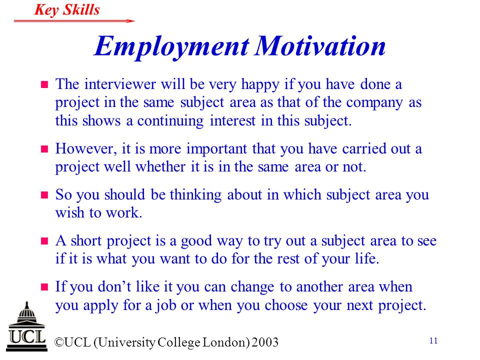 Employment Motivation
