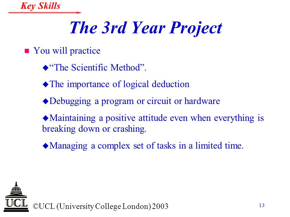 The 3rd Year Project You will practice The Scientific Method .