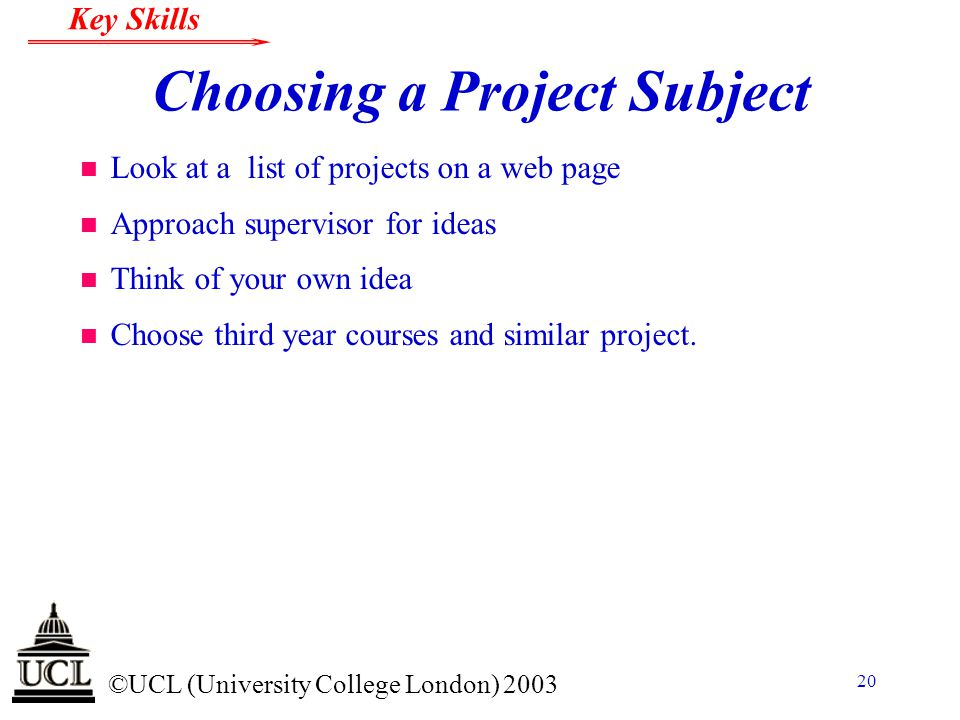 Choosing a Project Subject