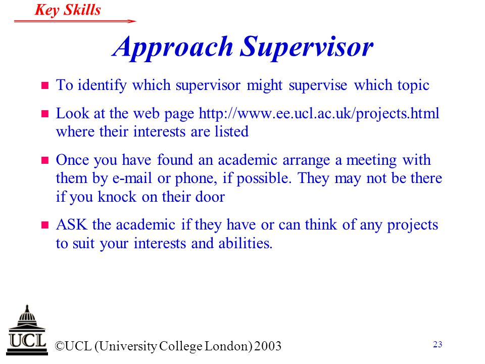 Approach Supervisor To identify which supervisor might supervise which topic.