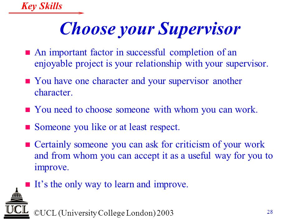 Choose your Supervisor