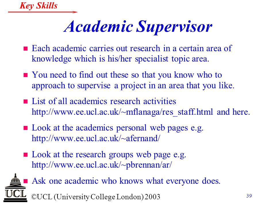 Academic Supervisor Each academic carries out research in a certain area of knowledge which is his/her specialist topic area.