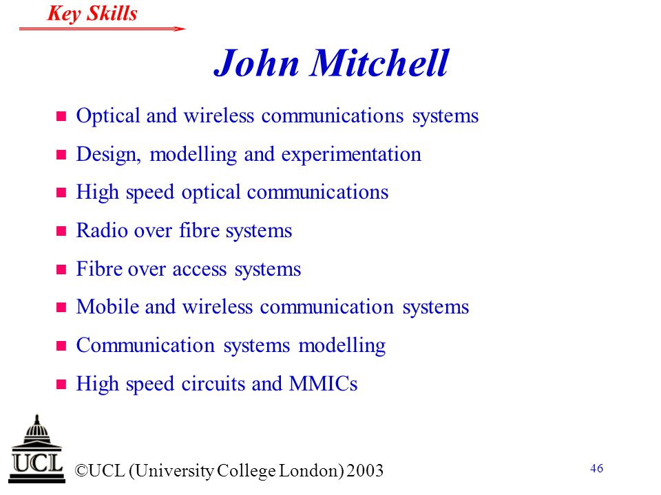 John Mitchell Optical and wireless communications systems