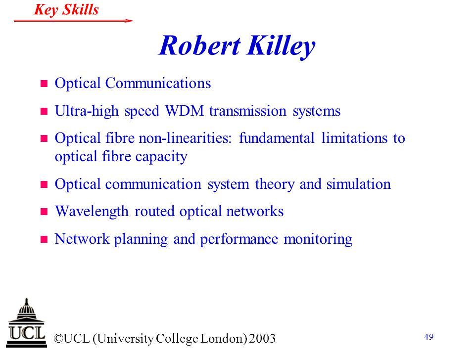 Robert Killey Optical Communications