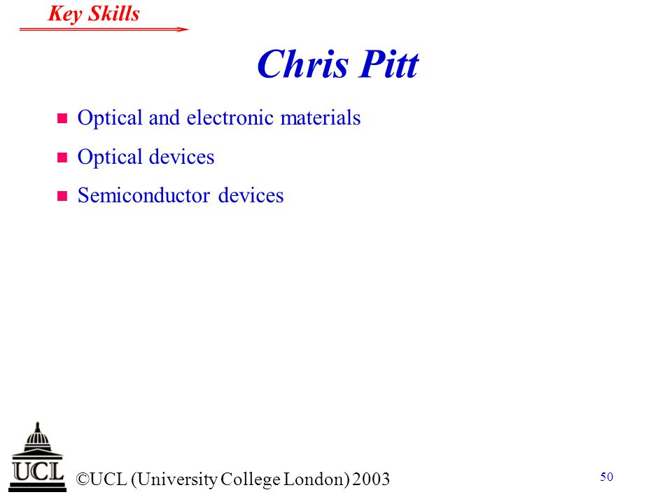 Chris Pitt Optical and electronic materials Optical devices