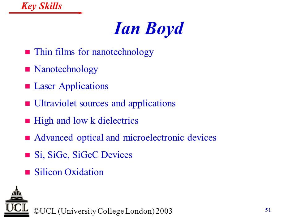 Ian Boyd Thin films for nanotechnology Nanotechnology