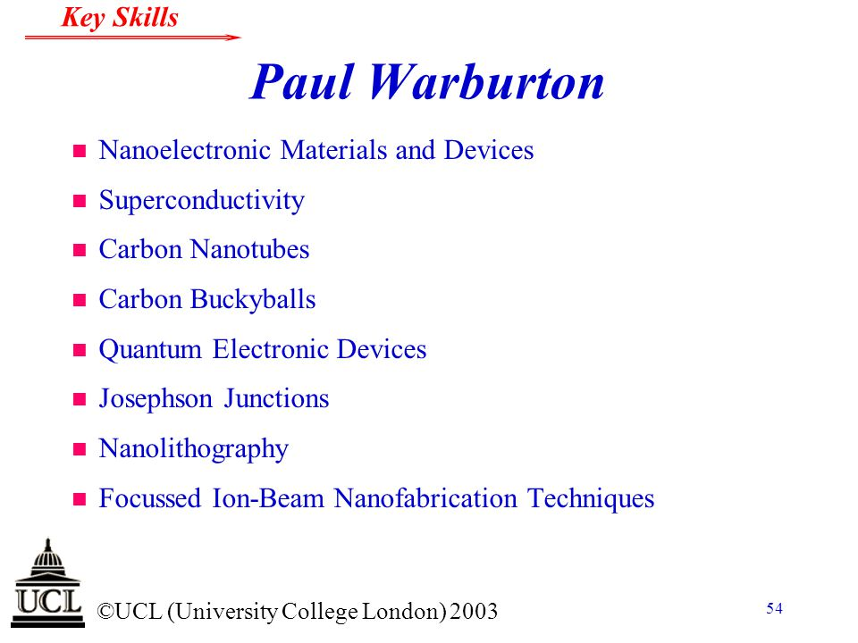 Paul Warburton Nanoelectronic Materials and Devices Superconductivity