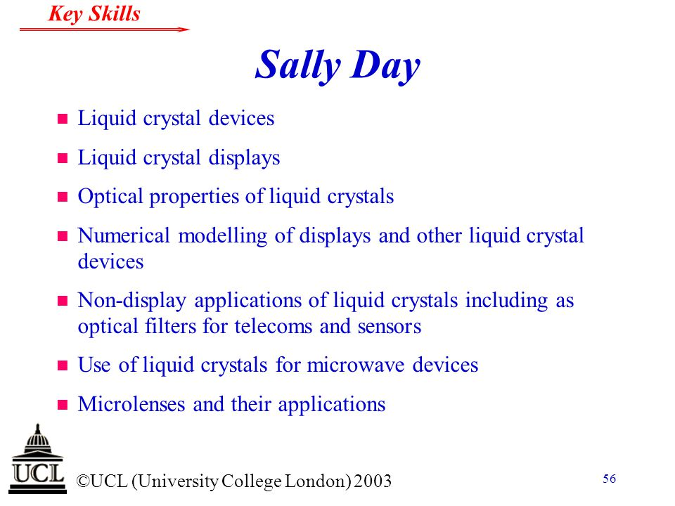 Sally Day Liquid crystal devices Liquid crystal displays