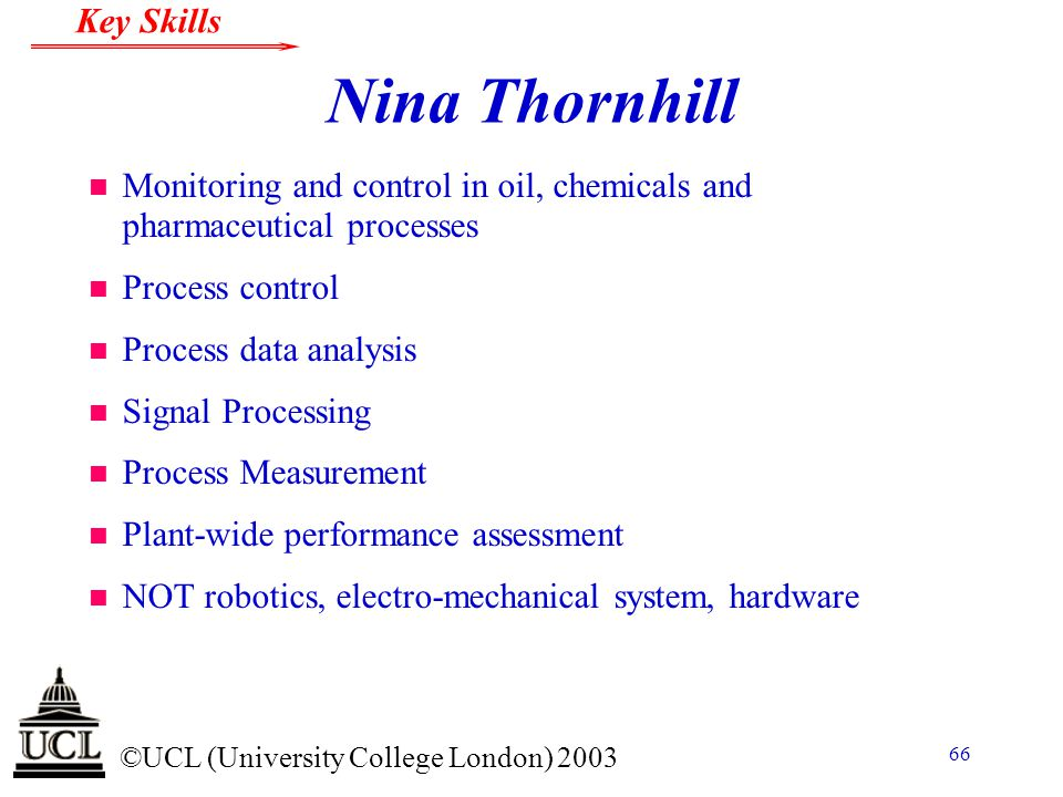 Nina Thornhill Monitoring and control in oil, chemicals and pharmaceutical processes. Process control.