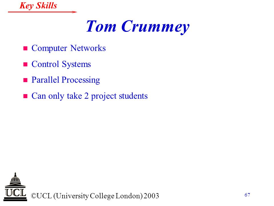 Tom Crummey Computer Networks Control Systems Parallel Processing