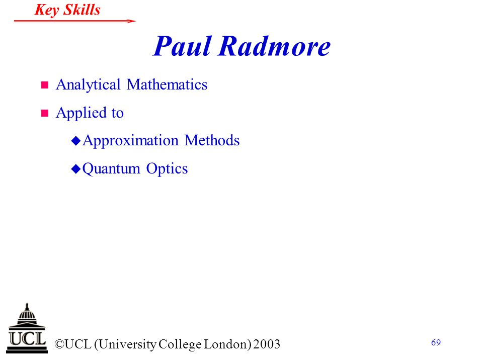 Paul Radmore Analytical Mathematics Applied to Approximation Methods