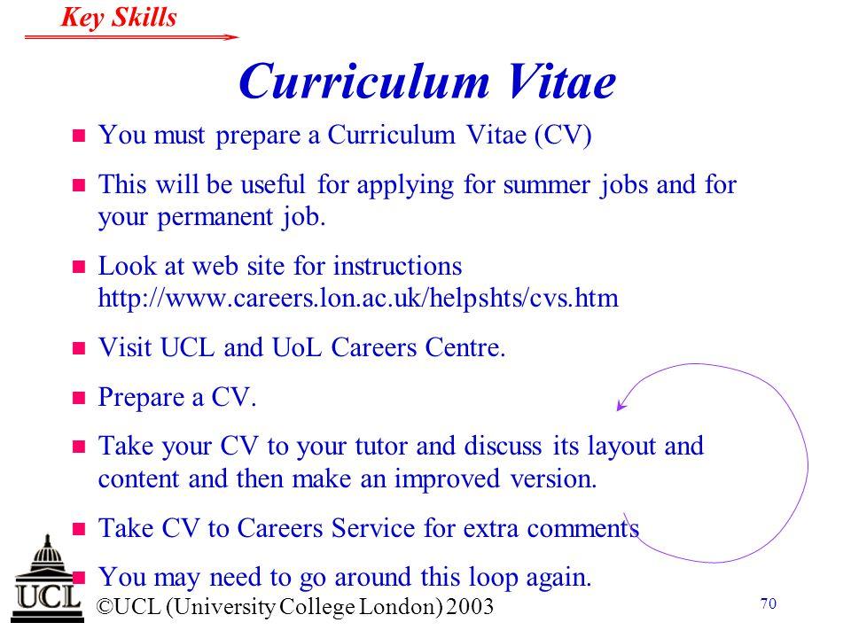 Curriculum Vitae You must prepare a Curriculum Vitae (CV)