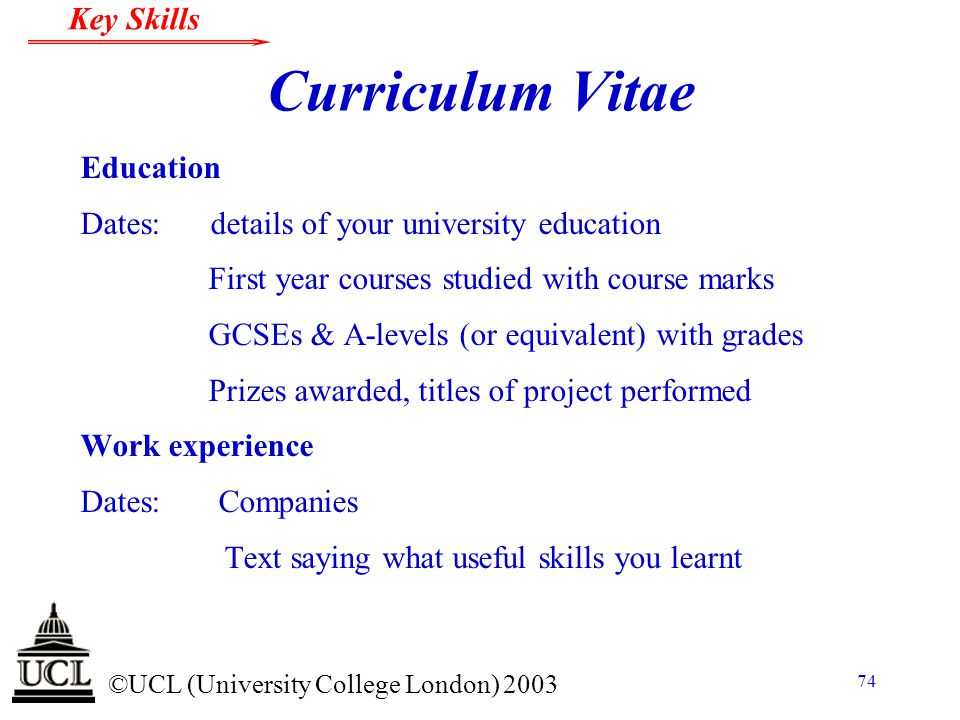 Curriculum Vitae Education Dates: details of your university education