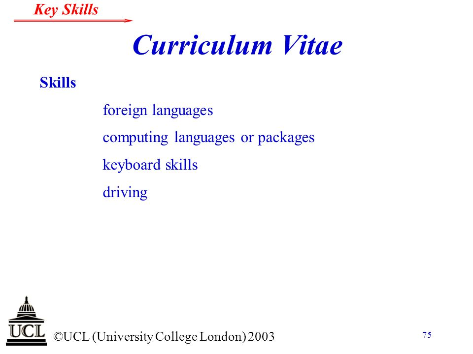 Curriculum Vitae Skills foreign languages