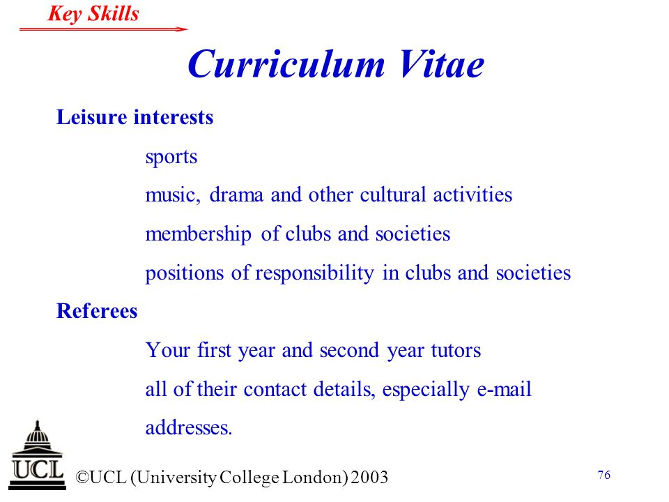 Curriculum Vitae Leisure interests sports