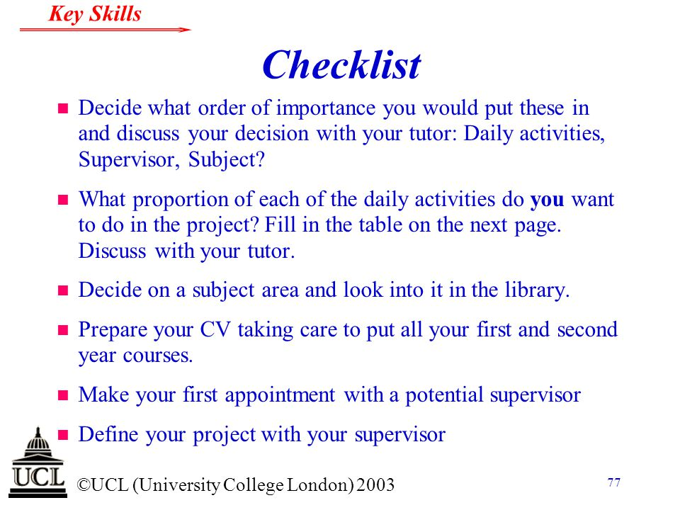 Checklist Decide what order of importance you would put these in and discuss your decision with your tutor: Daily activities, Supervisor, Subject