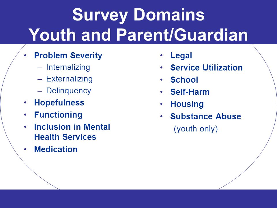 Survey Domains Youth and Parent/Guardian