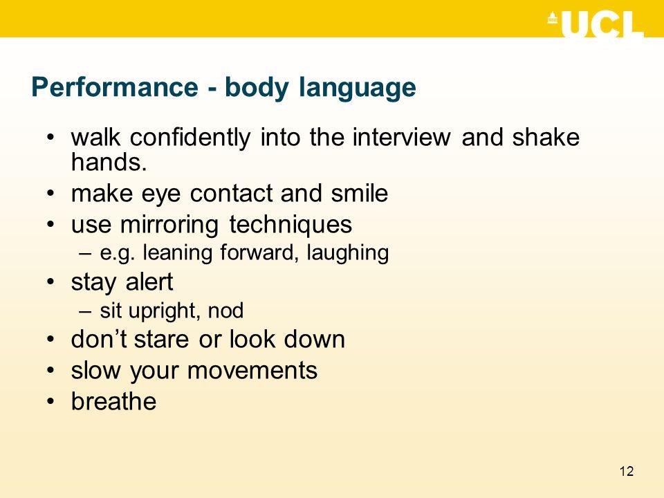 Performance - body language