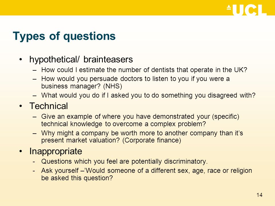 Types of questions hypothetical/ brainteasers Technical Inappropriate