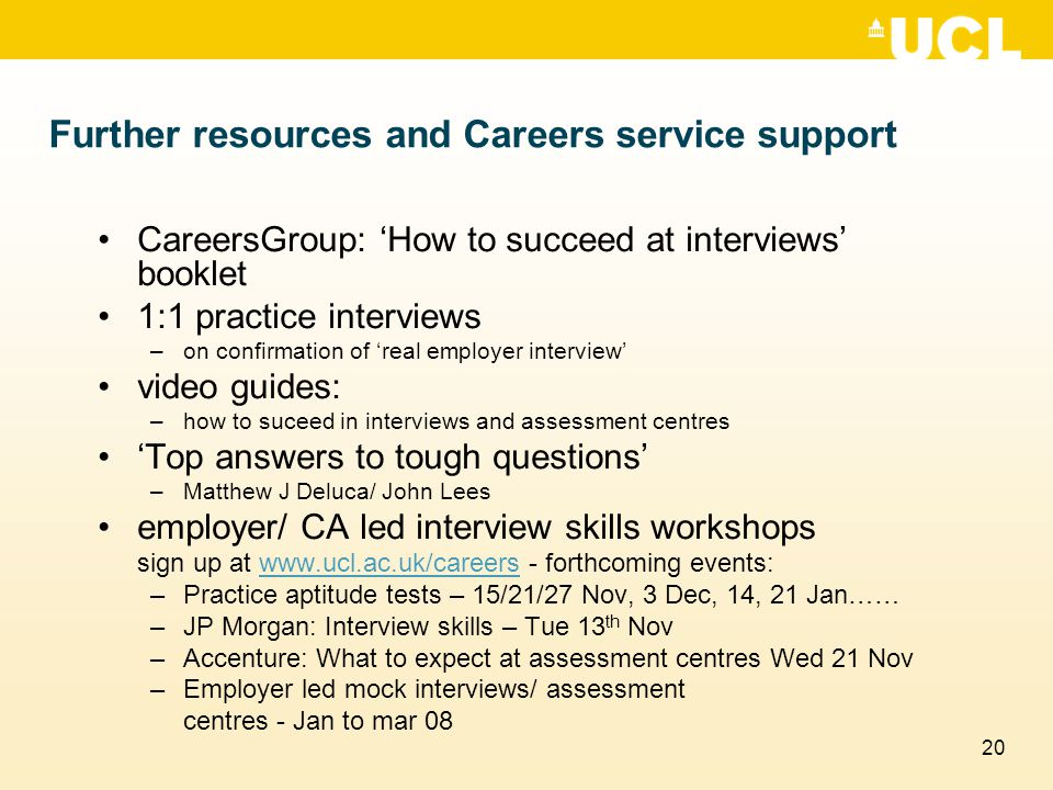 Further resources and Careers service support