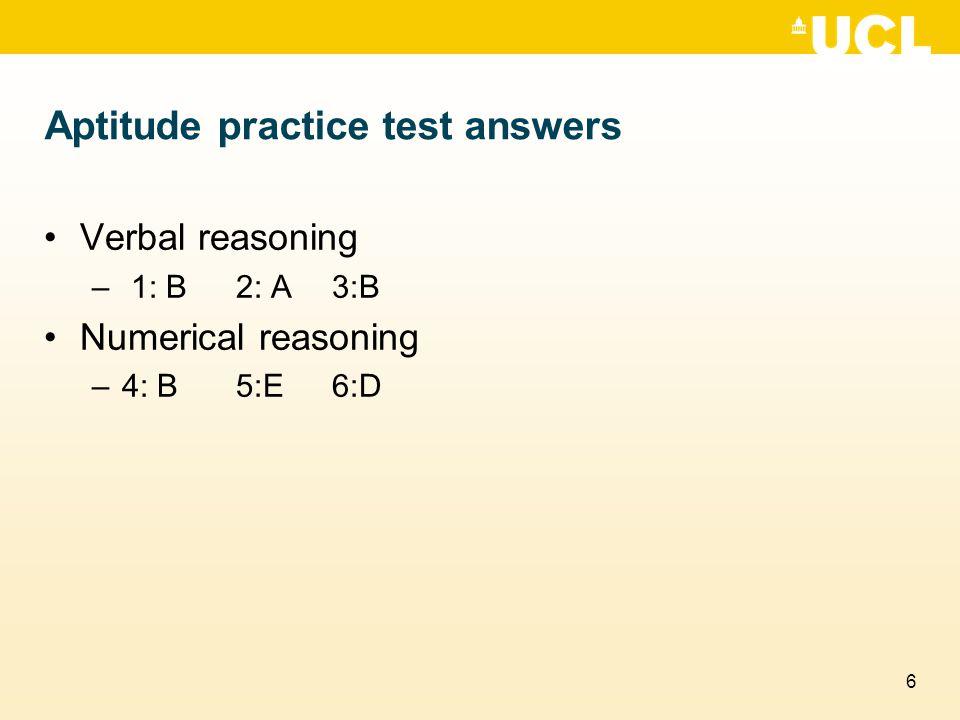 Aptitude practice test answers
