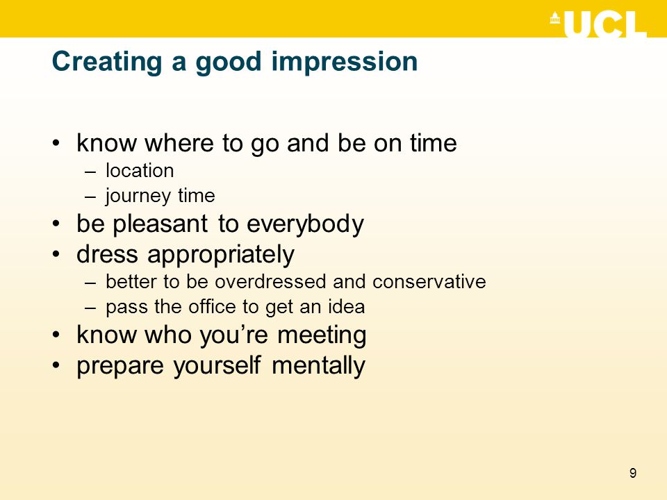 Creating a good impression