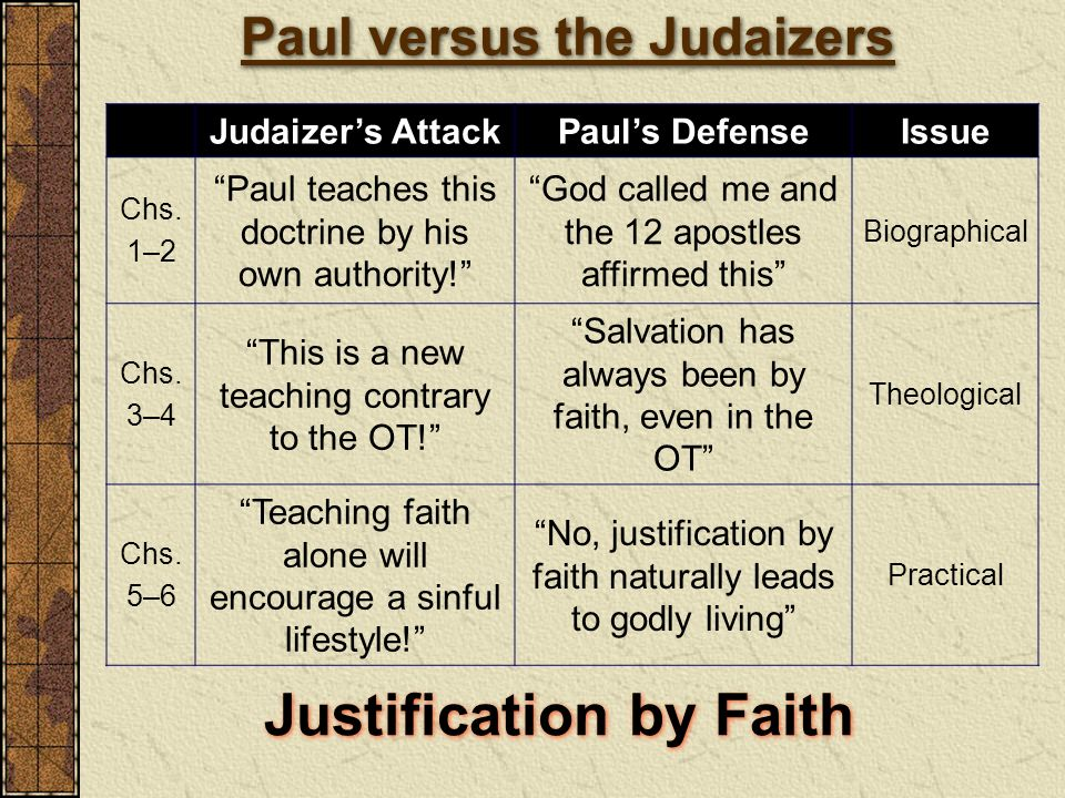 Paul versus the Judaizers Justification by Faith