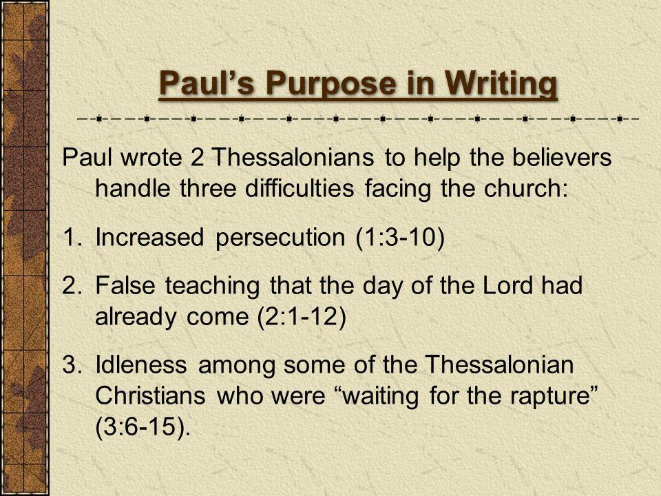 Paul's Purpose in Writing