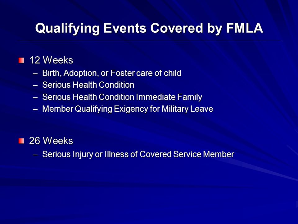 Qualifying Events Covered by FMLA